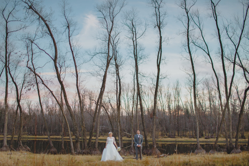 Bride and Groom by the Harvest Moon Pond